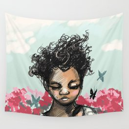 Girl with Butterfles Wall Tapestry