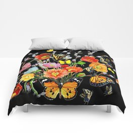 Black Butterfly Bouquet  Comforters