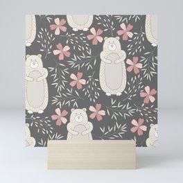 Bear and Flowers Mini Art Print