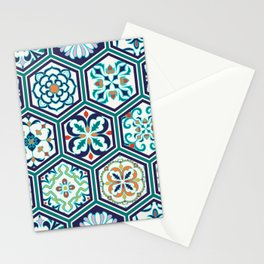 Patchwork pattern with decorative elements in hexagon in portuguese, spanish, italian style. Vintage abstract floral illustration patttern. Stationery Cards