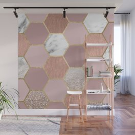 Indulgent desires rose gold marble Wall Mural
