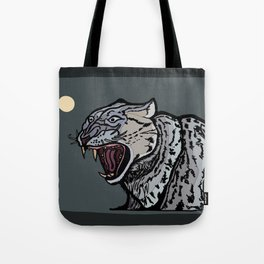 Snow Leopard Growling Tote Bag