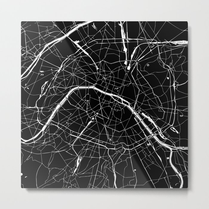 Paris france minimal street map black on white metal print