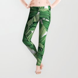 Tropical banana leaves V Leggings