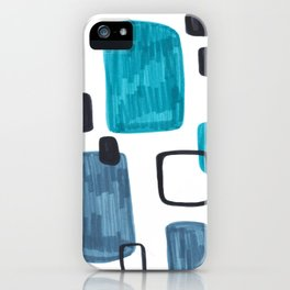 Mid Century Modern Abstract Minimalist Art Colorful Shapes Vintage Retro Style Turquoise Blue Grey iPhone Case