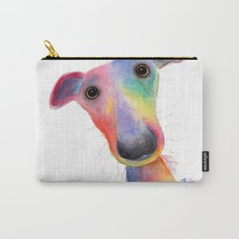 Nosey Dog Whippet / Greyhound ' HANK ' by Shirley MacArthur Carry-All Pouch