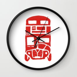 Red bus in London Wall Clock
