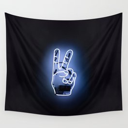 Peace Sign Hand Neon Sign Wall Tapestry