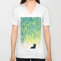 garden V-neck T-shirts featuring Cat in the garden under willow tree by Picomodi