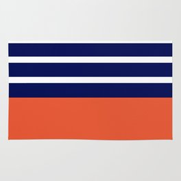 Summer Patio Perfect, Adobe Orange, White & Navy Rug