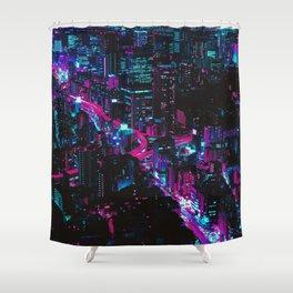Cyberpunk Vaporwave City Shower Curtain