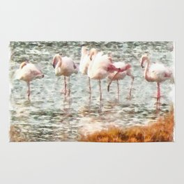 Six Flamingos A Wading Watercolor Rug