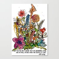 scripture Canvas Prints featuring Floral Watercolor with Scripture by Megan Schreurs