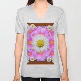 Chocolate Brown Color Shasta Daisies & Rose Pattern Garden Art Unisex V-Neck