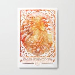 American Indian Chief Portrait watercolored Metal Print