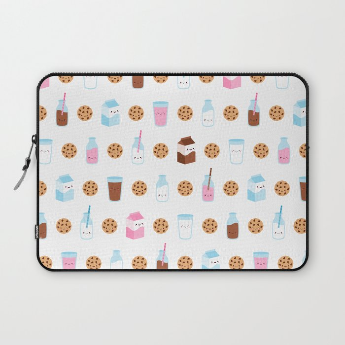 Milk and Cookies Pattern on White Laptop Sleeve