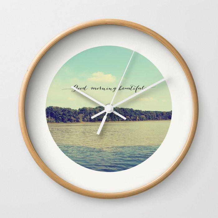 Good Morning Beautiful Nature Photograph Wall Clock By Allyjcat
