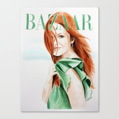 Harper's Bazaar Magazine Cover. Julianne Moore. Fashion Illustration Canvas Print