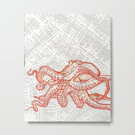 Red Pacific Octopus 3 Metal Print