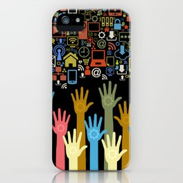 Society Hands 3D Social Network Phone Computer Colors Addiction iPhone Case