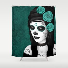 Day of the Dead Sugar Skull Girl with Teal Blue Roses Shower Curtain