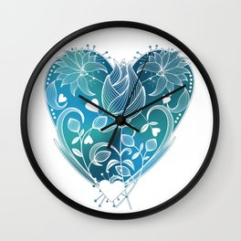 White Inked Floral Heart - Blues Wall Clock