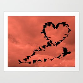 Heart of Crows Black Bird Raven A276 Corel Art Print