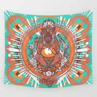 ganesh Wall Tapestries featuring West Ganesh - Color by C.E.Frusher