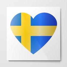 Heartshaped shiny flag of Sweden Metal Print