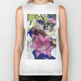 PURPLE & WHITE ASIAN GARDEN LILIES DRAWING Biker Tank