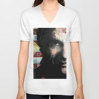 johnny cash V-neck T-shirts featuring Johnny Cash by Glen Ronald
