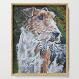 WIRE FOX TERRIER dog art portrait from an original painting by L.A.Shepard Serving Tray