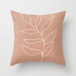 Engraved Leaf Line Throw Pillow