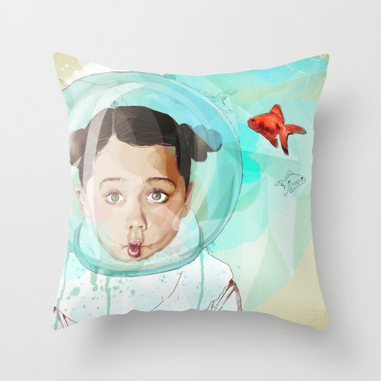 Fish Girl Throw Pillow