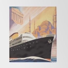 Venice Greece Istanbul shipping line retro vintage ad Throw Blanket