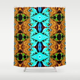 Gold, green and neon blue Snake Skin psychedelic fractal. Shower Curtain