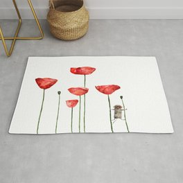Little mouse loves big poppies  Rug