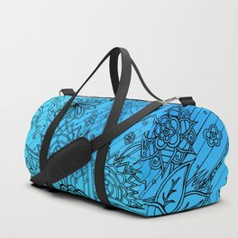 Flower Zen: Blue-Green Fade Duffle Bag