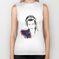 harry styles Biker Tanks featuring Harry Styles by Mariam Tronchoni