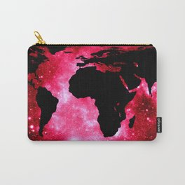World Map : Red Hot Pink Galaxy Carry-All Pouch