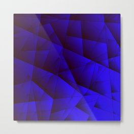 Dark contrasting blue fragments of crystals on triangles of irregular shape. Metal Print