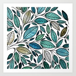 Leaf Illustration - Blue Green - P07 010 Art Print