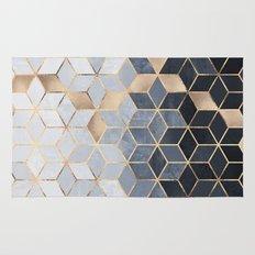 Soft Blue Gradient Cubes Rug