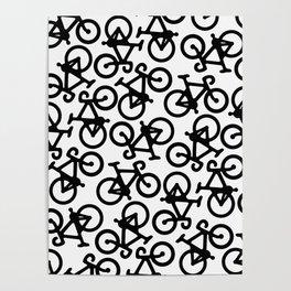 Black Bikes Pattern Poster