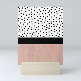 Pink marble and dots Mini Art Print