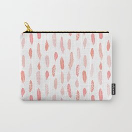 Feather pink and white minimal feathers pattern nursery gender neutral boho decor Carry-All Pouch