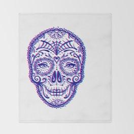 Sugar Skull (Calavera) Chromatic Aberration - Cyan Magenta Throw Blanket