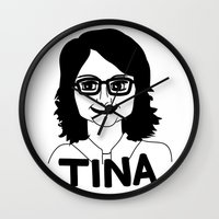tina crespo Wall Clocks featuring Tina Fey by Flash Goat Industries