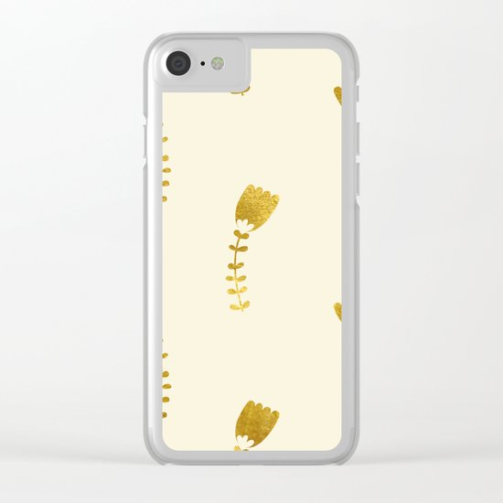 Cream Gold Foil 03 Clear iPhone Case