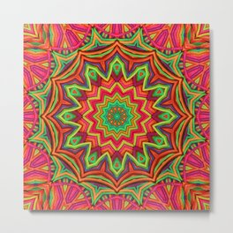 embroidered kaleidoscope 3D 01 Metal Print